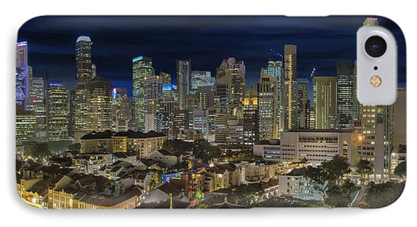 Singapore Central Business District Skyline And Chinatown At Dus Phone Case by David Gn
