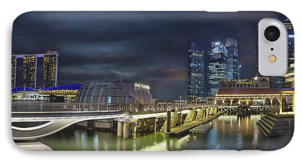 Singapore City By The Fullerton Pavilion At Night Phone Case by David Gn