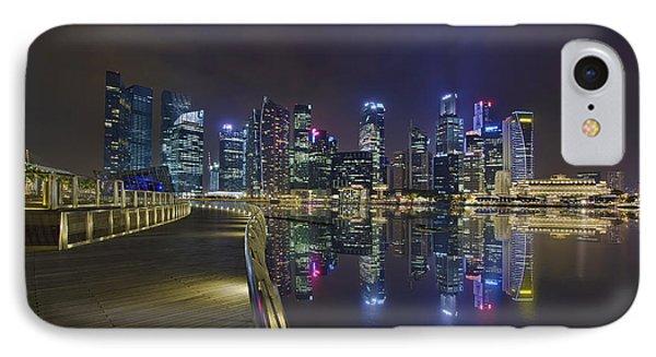 Singapore City Skyline Along Marina Bay Boardwalk At Night Phone Case by David Gn