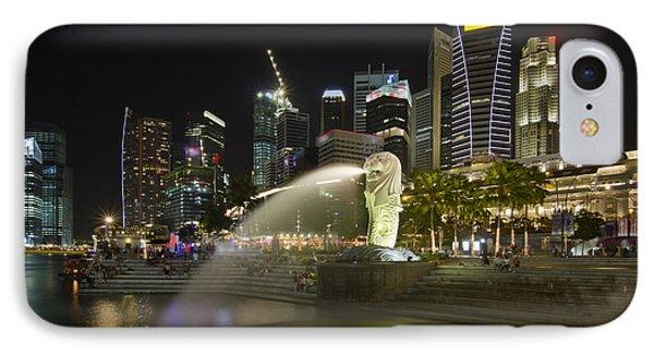Singapore City Skyline At Merlion Park Phone Case by David Gn
