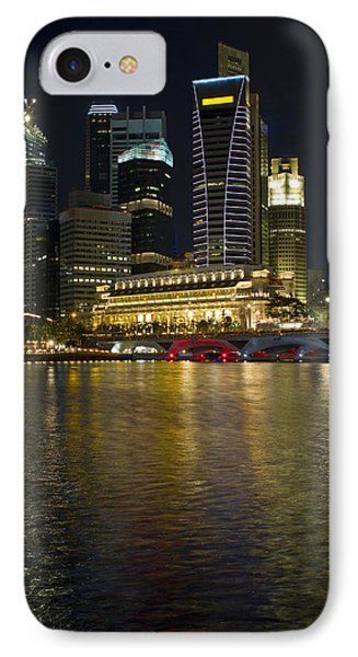 Singapore City Skyline At Night Phone Case by David Gn