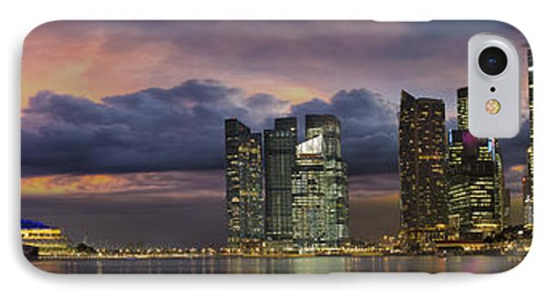Singapore City Skyline At Sunset Panorama IPhone Case by Jit Lim