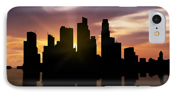 Singapore City Sunset Skyline  IPhone Case by Aged Pixel