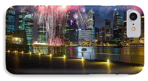 Singapore Fireworks In Downtown Area IPhone Case by Jaynes Gallery