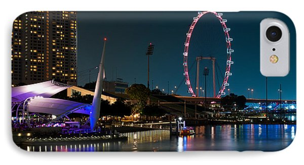 Singapore Flyer At Night Phone Case by Rick Piper Photography