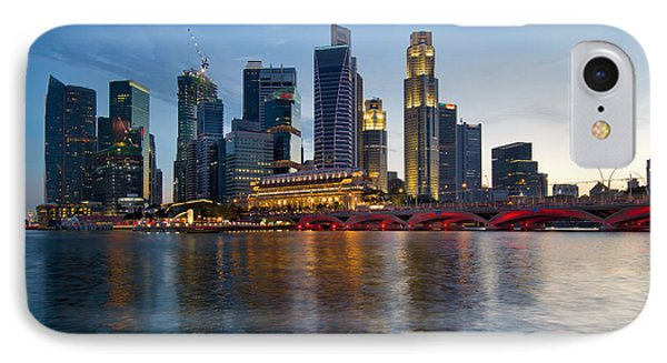 Singapore River Waterfront Skyline At Sunset IPhone Case by Jit Lim