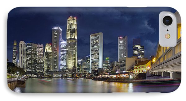 Singapore Skyline From Boat Quay IPhone Case by Jit Lim