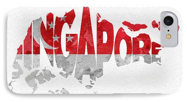 Singapore Typographic Map Flag IPhone Case by Ayse Deniz