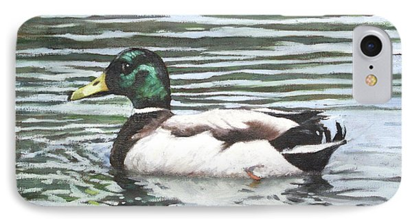Single Mallard Duck In Water Phone Case by Martin Davey