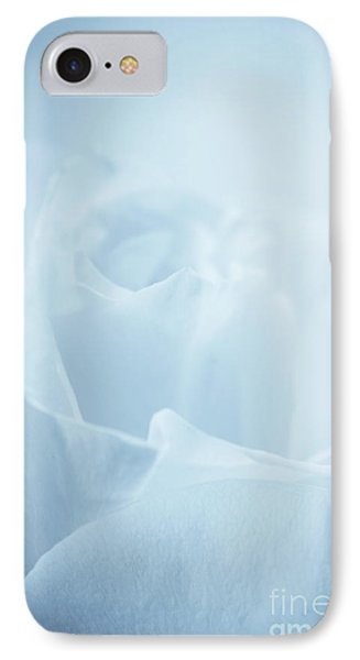 Single White Rose Blue Tint IPhone Case by Linda Matlow