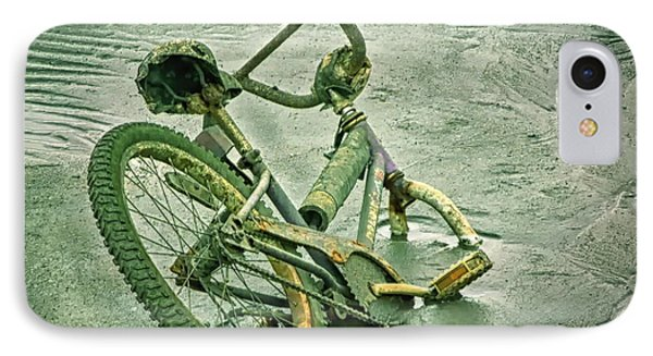 Sinking Bike In Mud IPhone Case by Gary Slawsky