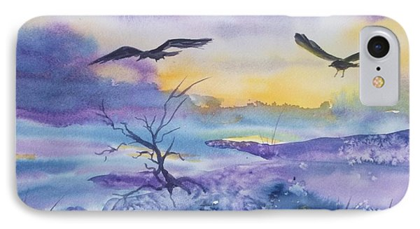 IPhone Case featuring the painting Sister Ravens by Ellen Levinson
