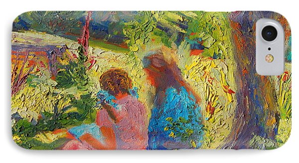 IPhone Case featuring the painting Sisters Reading Under Oak Tree by Thomas Bertram POOLE