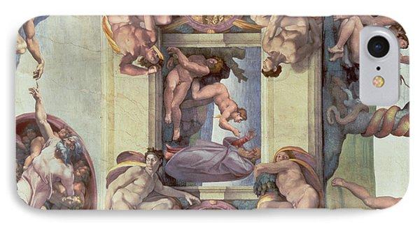 Sistine Chapel Ceiling 1508-12 The Creation Of Eve, 1510 Fresco Post Restoration IPhone Case by Michelangelo Buonarroti