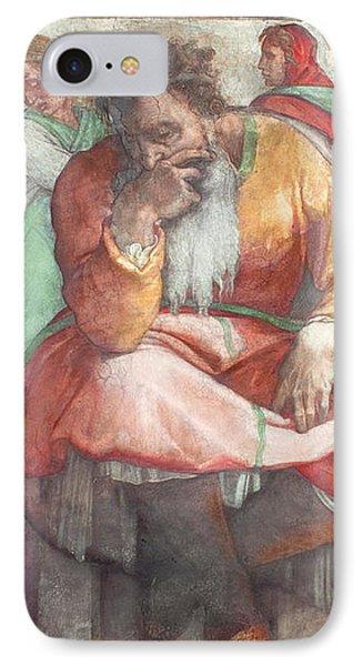 Sistine Chapel Ceiling The Prophet Jeremiah Pre Resoration IPhone Case by Michelangelo Buonarroti