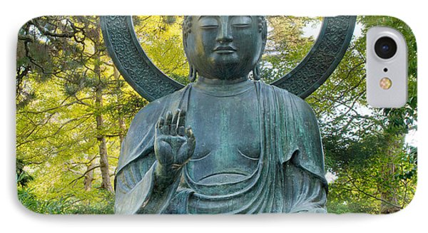 Sitting Bronze Buddha At San Francisco Japanese Garden Phone Case by David Gn