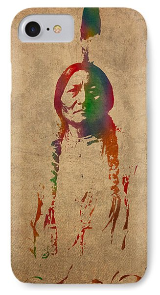 Sitting Bull Watercolor Portrait On Worn Distressed Canvas IPhone Case by Design Turnpike