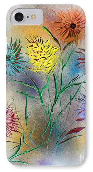 IPhone Case featuring the painting Six Flowers by Greg Moores