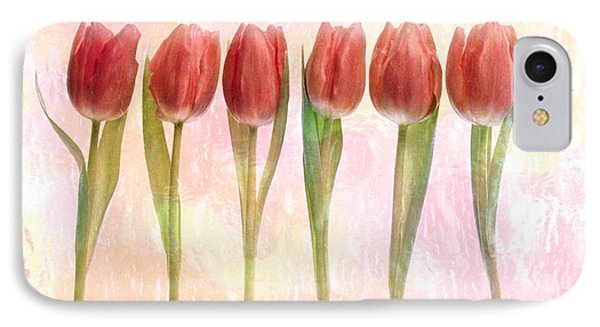 Six Pink Tulips With Green Stems IPhone Case