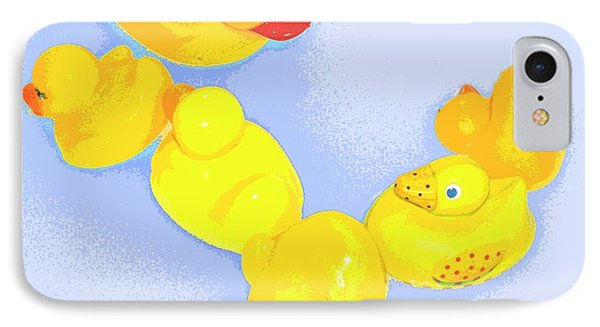 Six Rubber Ducks IPhone Case by Valerie Reeves