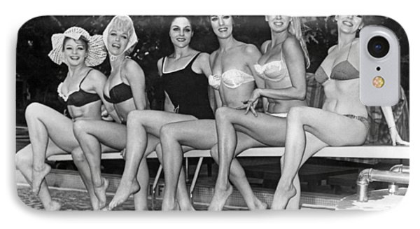 Six Showgirls At The Pool IPhone Case by Underwood Archives
