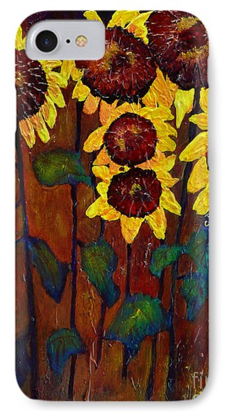Six Sunflowers Phone Case by Claire Bull