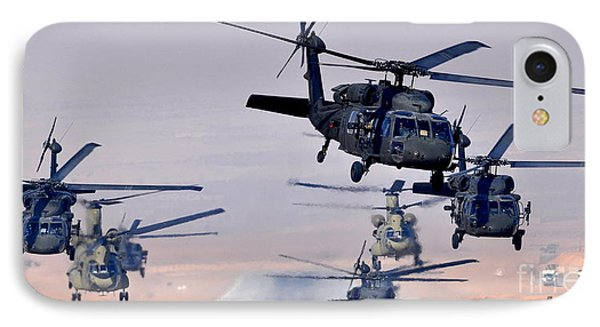 Six Uh-60l Black Hawks And Two Ch-47f Chinooks Phone Case by Paul Fearn