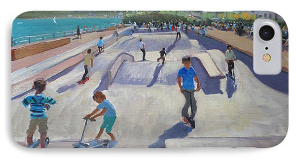 Skateboaders  Teignmouth IPhone Case by Andrew Macara