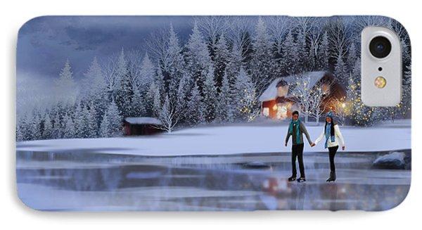 Skating At Christmas Night IPhone Case