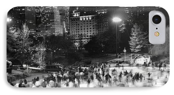 IPhone 7 Case featuring the photograph New York City - Skating Rink - Monochrome by Dave Beckerman