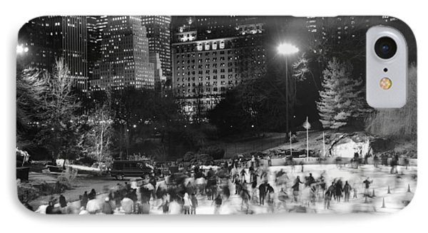IPhone Case featuring the photograph New York City - Skating Rink - Monochrome by Dave Beckerman