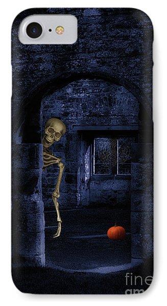 Skeleton At Halloween IPhone Case by Amanda Elwell