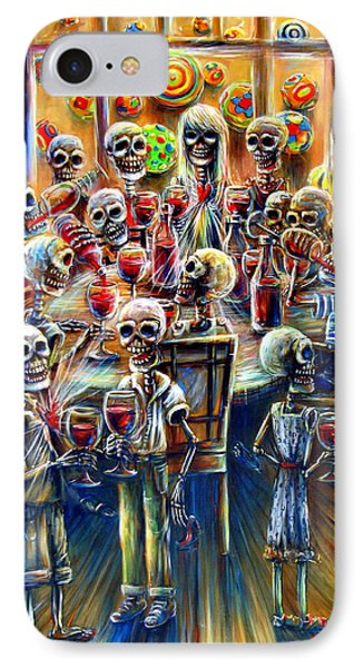 IPhone Case featuring the painting Skeleton Wine Party by Heather Calderon