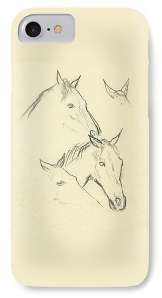 Sketch Of A Horse Head IPhone Case by Carl Oscar August Erickson