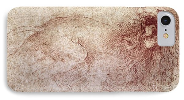 Sketch Of A Roaring Lion IPhone Case by Leonardo Da Vinci