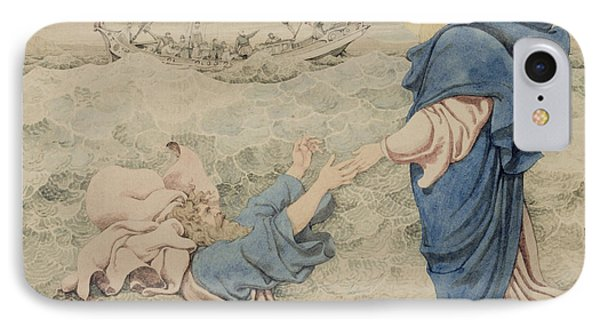 Sketch Of Christ Walking On Water IPhone Case by Richard Dadd