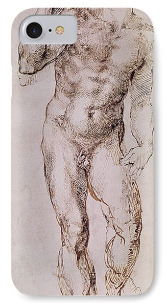 Sketch Of David With His Sling Phone Case by Michelangelo Buonarroti