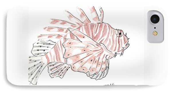 IPhone Case featuring the drawing Sketch Of Lion Fish At London Aquarium by Jingfen Hwu