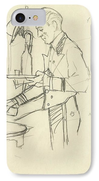 Sketch Of Waiter Pouring Wine IPhone Case by Carl Eric Erickson