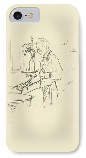 Sketch Of Waiter Pouring Wine IPhone Case by Carl Oscar August Erickson