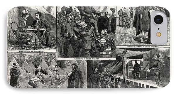 Sketches At The Volunteer Camp, Wimbledon, Engraving 1884 IPhone Case