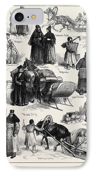 Sketches In St. Petersburg Beggars Tradesmans Sleigh Monk IPhone Case by English School