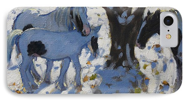 Skewbald Ponies In Winter Phone Case by Andrew Macara
