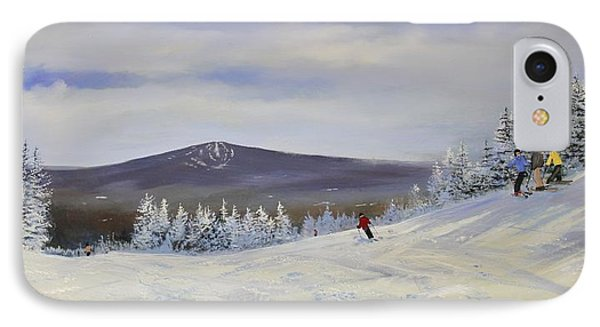 IPhone Case featuring the painting Ski Talk by Ken Ahlering