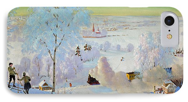 Skiers IPhone Case by Boris Mikhailovich Kustodiev