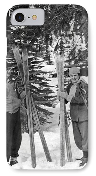 Skiing Badger Pass In Yosemite Phone Case by Underwood Archives
