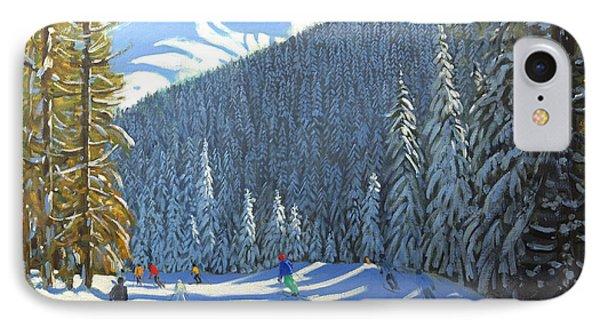 Skiing  Beauregard La Clusaz IPhone Case by Andrew Macara