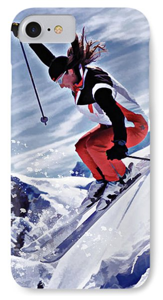 Skiing Down The Mountain In Red IPhone Case by Elaine Plesser