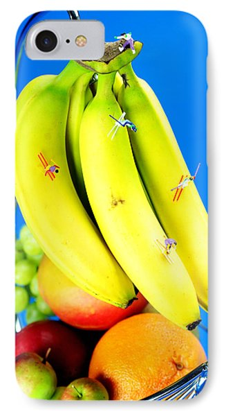 Skiing On Banana Little People On Food Phone Case by Paul Ge