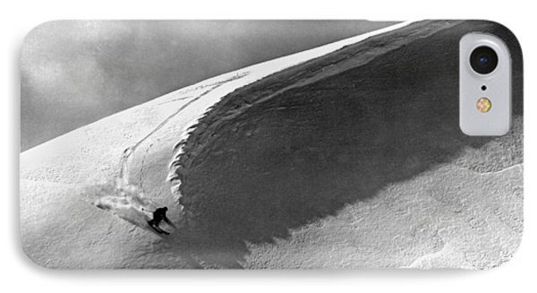Skiing Under A Curl Phone Case by Underwood Archives